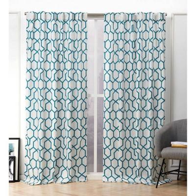 Hexa Hidden Tab Top Light Filtering Curtain Panel Pair - Nicole Miller