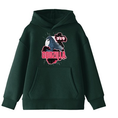 Godzilla Classic Art and Logo Youth Forest Green Hoodie