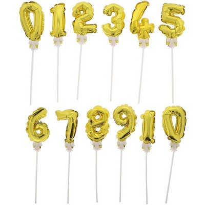 Juvale 12-Pack Mini Cake Topper Number Balloons, Birthday Party Decor, Metallic Gold, 5.5 Inches