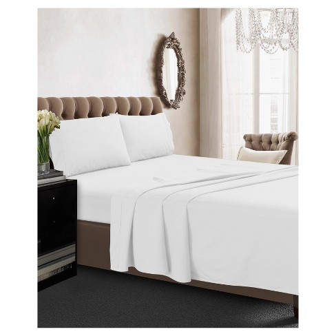 Long Staple Cotton Percale Deep Pocket Solid Sheet Set 350 Thread Count Tribeca Living