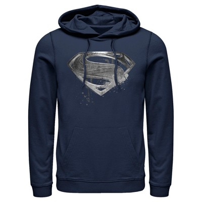 Men's Zack Snyder Justice League Superman Silver Logo Pull Over Hoodie