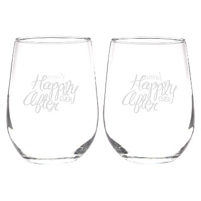 """Small """"Happily Ever After"""" Drinkware Goblet Clear"""