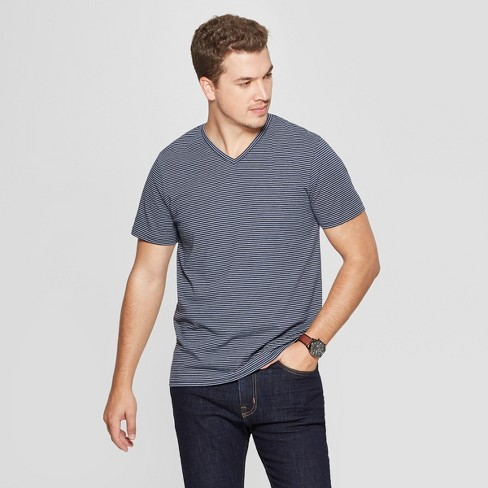 Men's Striped Standard Fit Short Sleeve Novelty V-Neck T-Shirt - Goodfellow & Co™ - image 1 of 3