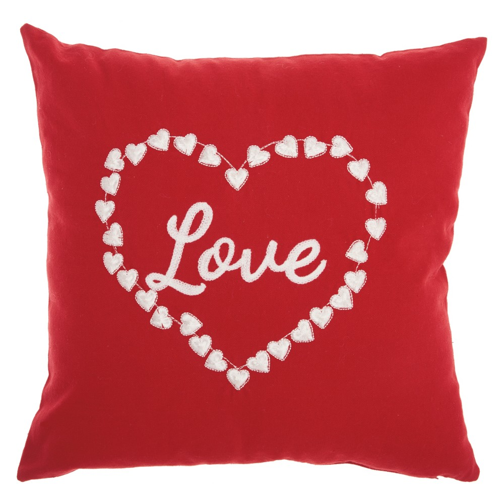 The Holiday Love & Heart Square Throw Pillow Red - Mina Victory