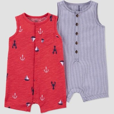Baby Boys' Summer Print Romper - Just One You® made by carter's Navy 9M