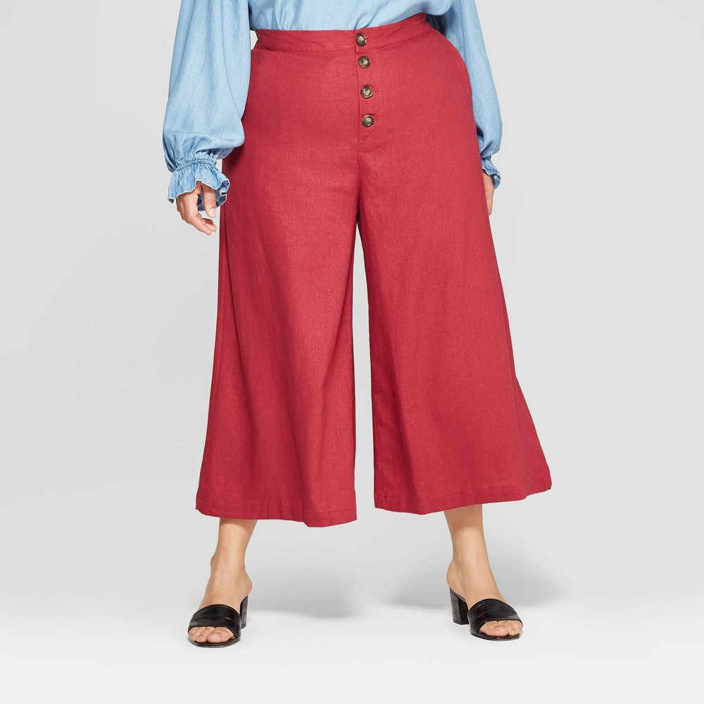 Women's Plus Size Button Front Wide Leg Palazzo Pants - Who What Wear Red 24W