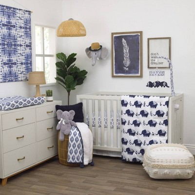 NoJo Indigo Hues Elephant Nursery Crib Bedding Set - Blue and White 4pc