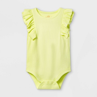 Baby Girls' Ruffle Ribbed Bodysuit - Cat & Jack™ Yellow 0-3M