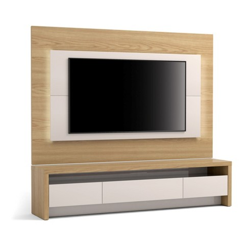 2pc Sylvan Nature Wood Tv Stand And Panel With Led Lights Off White Manhattan Comfort