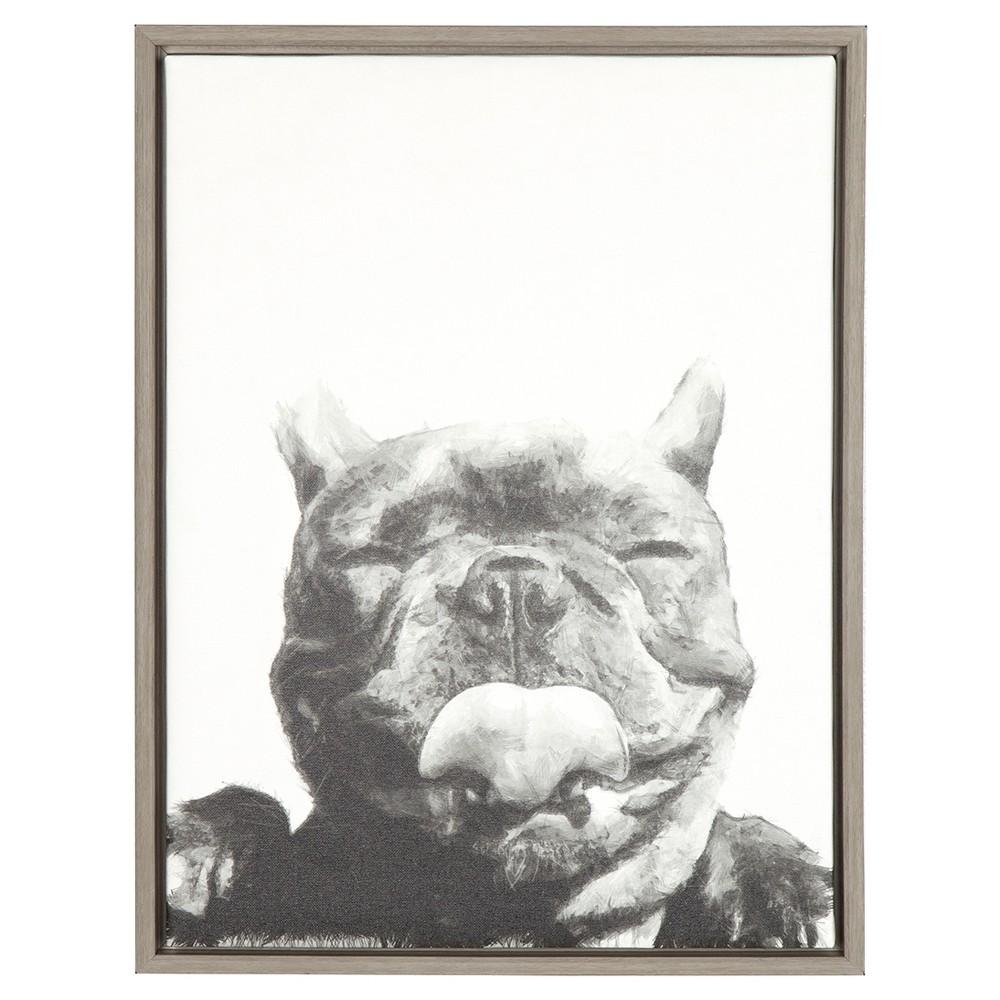 Licking Dog Framed Canvas Art Gray (24