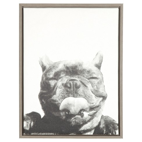 "Licking Dog Framed Canvas Art Gray (24""x18"") - Uniek - image 1 of 3"