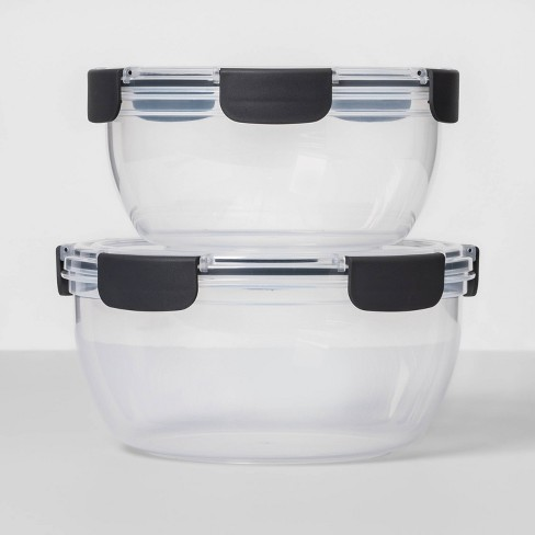 4pc Plastic Round Bowl Set With Lids - Made By Design™ - image 1 of 3