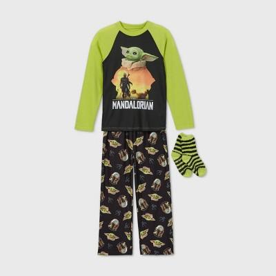 Boys' Star Wars The Mandalorian 2pc Cozy Pajama Set with Socks - Black/Green M