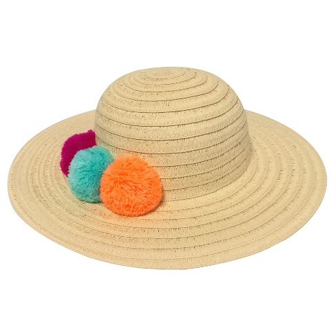 Toddler Girls' Floppy Hat with Poms Cat & Jack™ - Natural 2T-5T - image 1 of 1