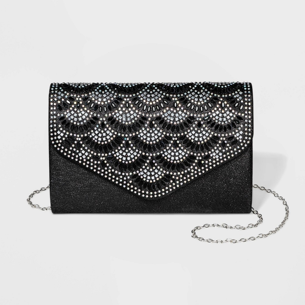 Image of Estee & Lilly Crystal Flap Clutch - Black, Women's