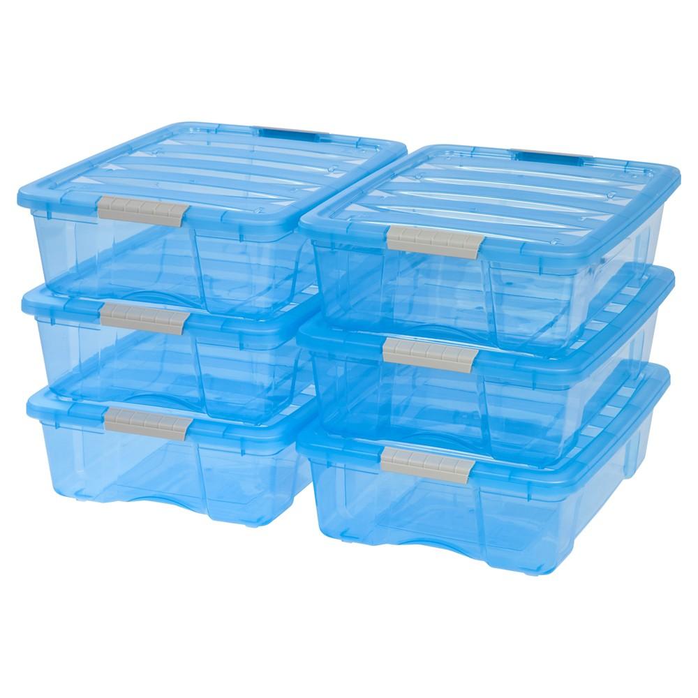Image of IRIS 26.9 Qt Plastic Storage Bin, Blue - 6 Pack