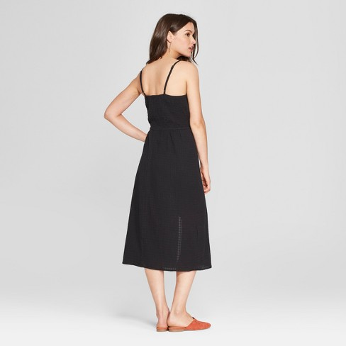 Women s Side Button Midi Dress - Universal Thread™ Black   Target 65e5b0ab6