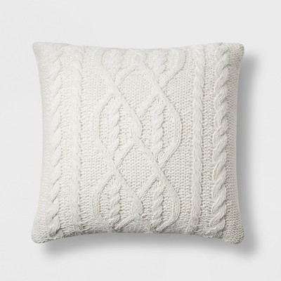 Chenille Cable Knit Oversize Square Throw Pillow Cream - Threshold™