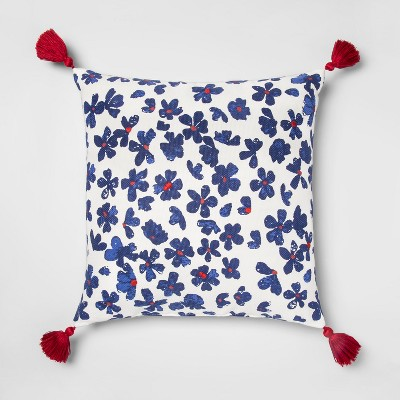 Floral Throw Square Pillow White/Blue - Opalhouse™