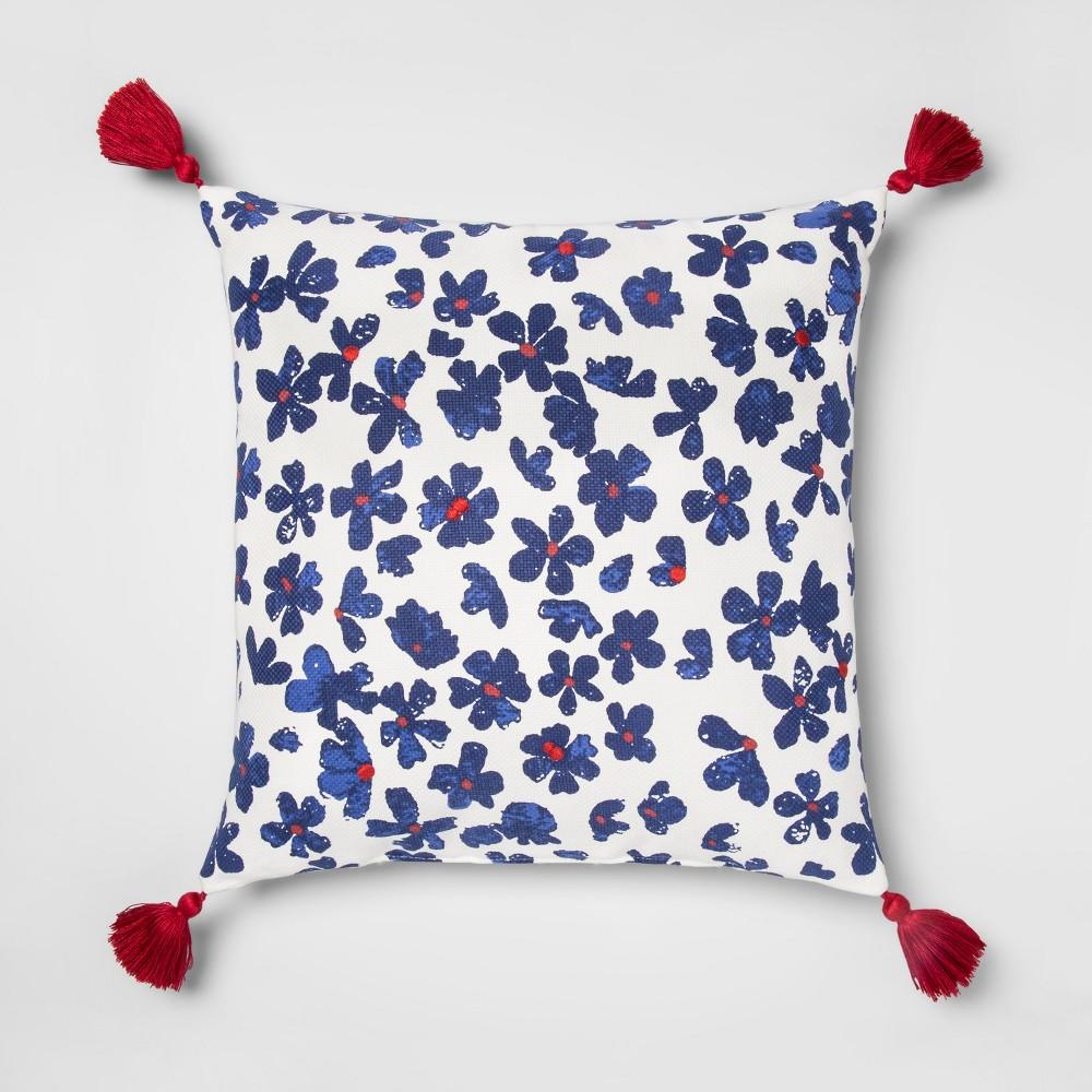 Floral Throw Square Pillow White/Blue - Opalhouse