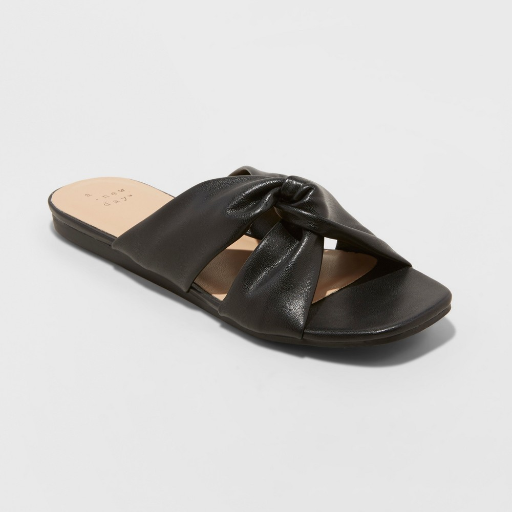 Women's Rayna Knotted Slide Sandals - A New Day Black 10