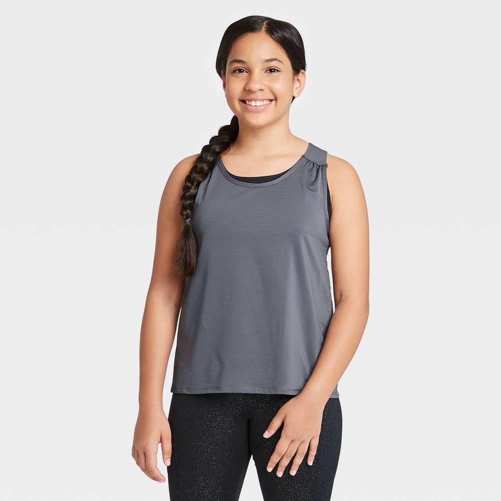 Image of Girls' Double Layer Tank Top - All in Motion Gray L, Girl's, Size: Large