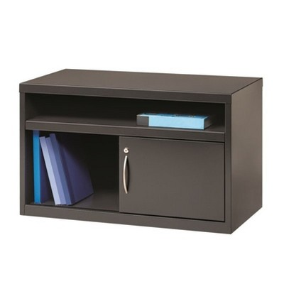 Steel Low Credenza File Cabinet with Door in Charcoal Brown-Hirsh Industries