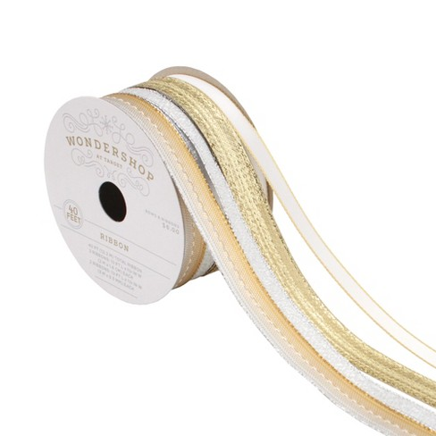 4ct 10ft each Gold/White/Silver Fabric Ribbon - Wondershop™ - image 1 of 2