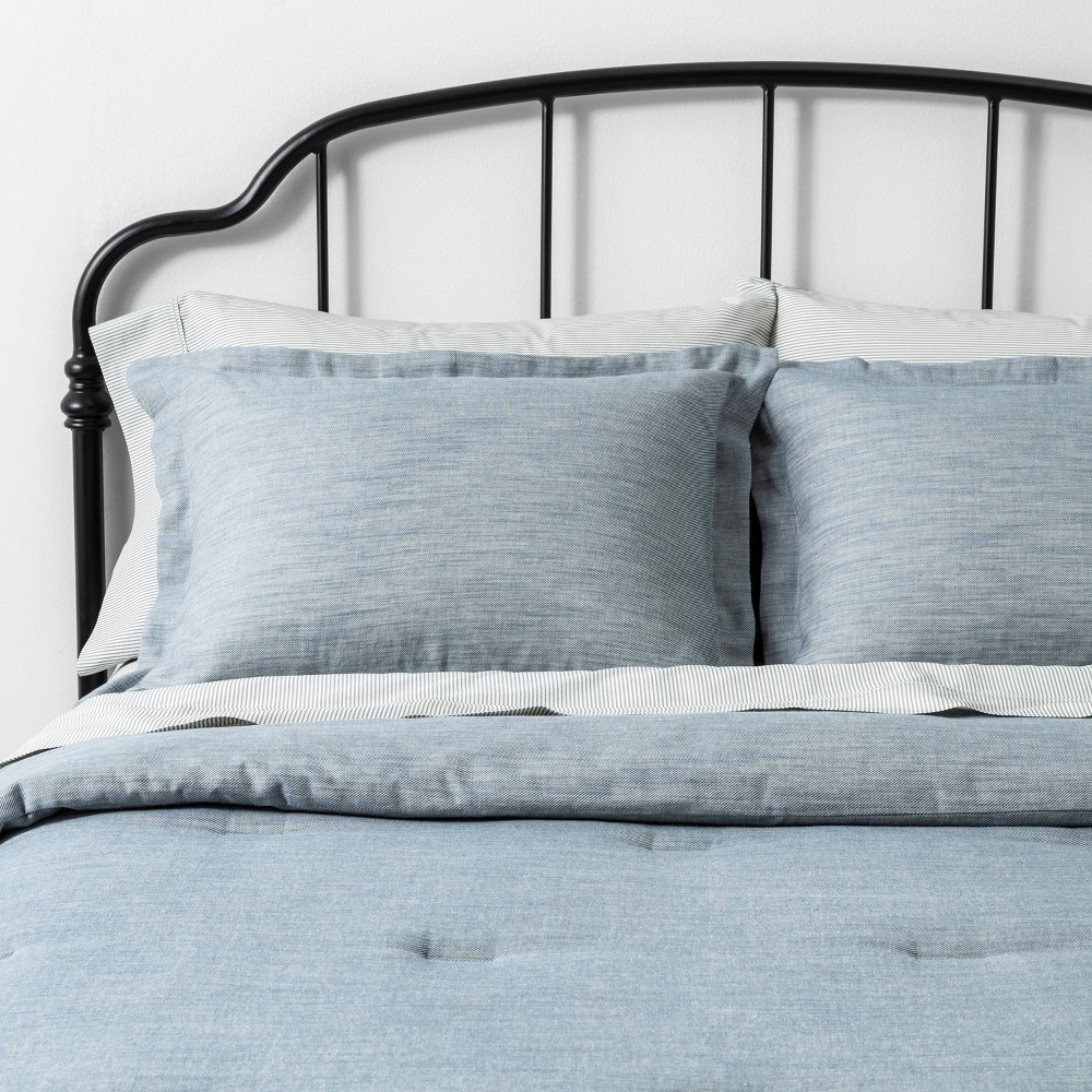 Comforter Set Twin Blue Twill - Hearth & Hand with Magnolia was $79.99 now $39.99 (50.0% off)