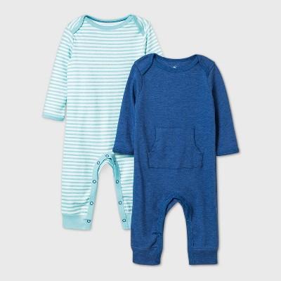 Baby Boys' 2pk Romper - Cloud Island™ Navy Newborn