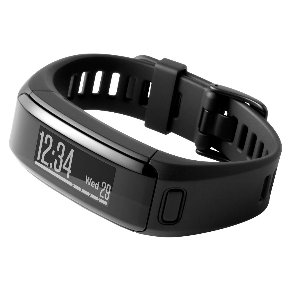 Garmin vivosmart HR Fitness Monitor - Black The Garmin Vivosmart HR is exactly the fitness tracker watch you need. This fitness tracker Bluetooth syncs to an app on your phone making it easy to track progress to a fitness goal and more. Some notable features of this fitness watch include heart rate tracking, floors climbed, water resistant, and more! This watch is comfortable enough to wear all day and night. Color: Black.