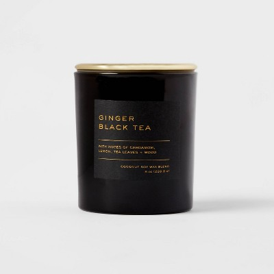 8oz Lidded Glass Jar Black Label Ginger Black Tea Candle - Threshold™