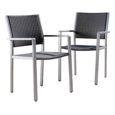 Cape Coral 2pk Wicker Dining Chairs   Gray   Christopher Knight Home