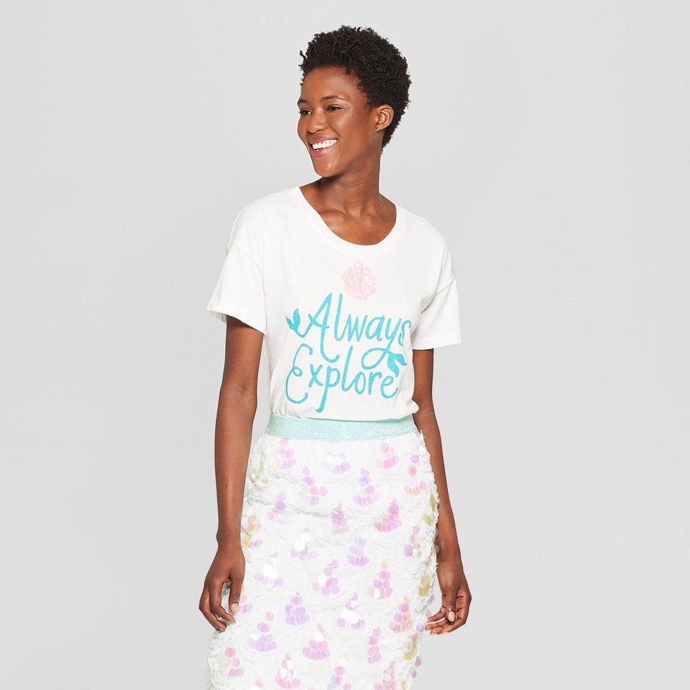 Women's Disney Princess Ariel Never Stop Exploring Short Sleeve T-Shirt (Juniors') - White XL
