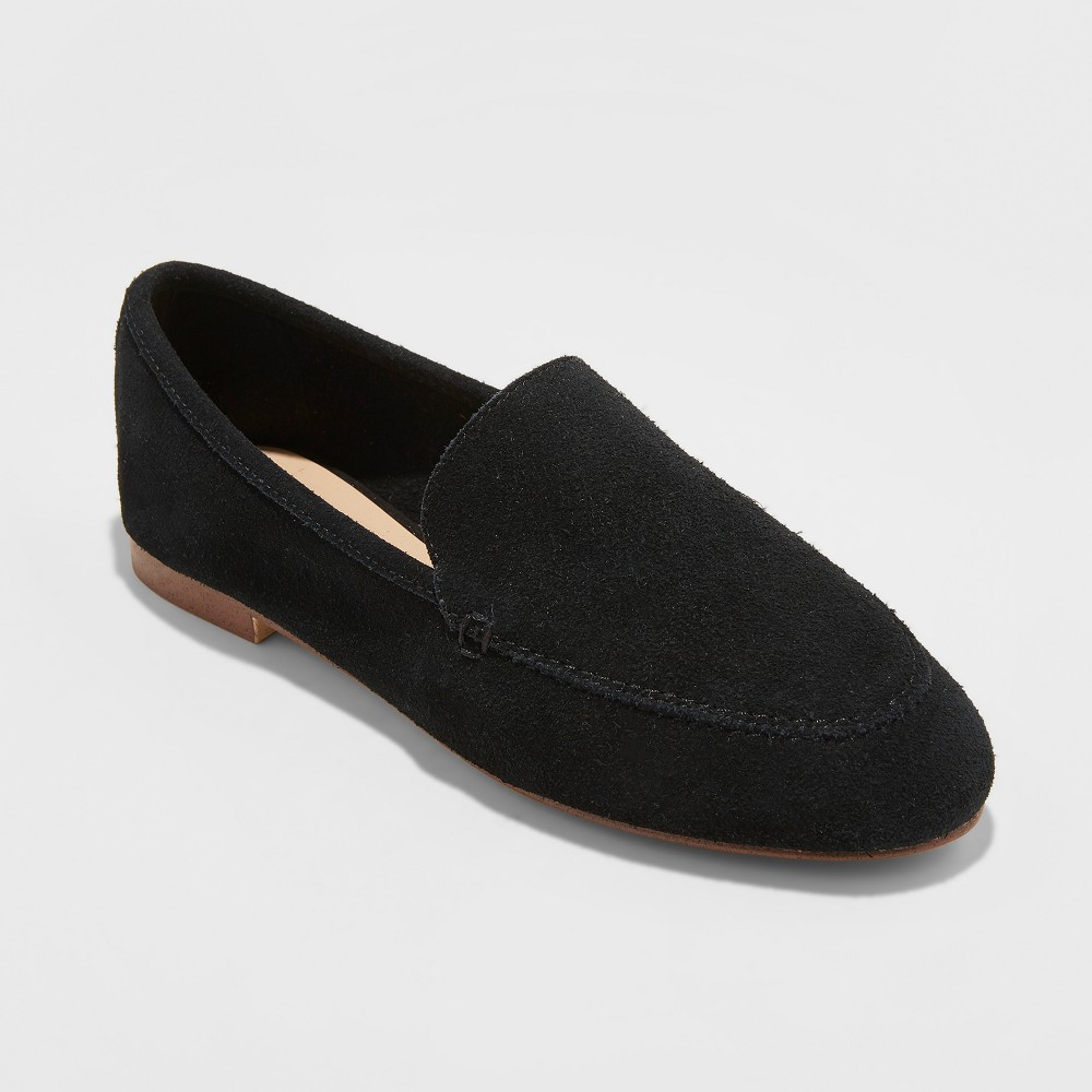 Women's Mila Suede Loafers - A New Day Black 8