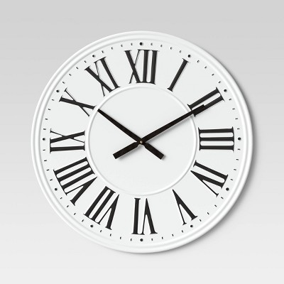 "26"" Metal Wall Clock White - Threshold™"