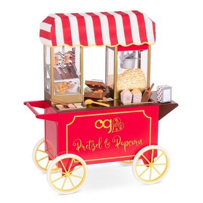 "Our Generation Retro Pretzel & Popcorn Play Food Stand for 18"" Dolls - Poppin' Plenty Snack Cart"
