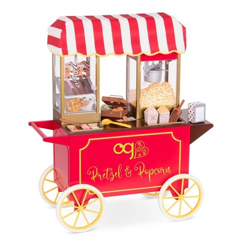 """Our Generation Retro Pretzel & Popcorn Play Food Stand for 18"""" Dolls - Poppin' Plenty Snack Cart - image 1 of 4"""