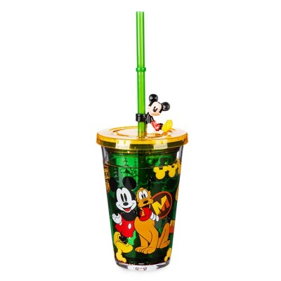Disney Mickey Mouse & Friends 8.4oz Plastic Tumbler with Straw Green