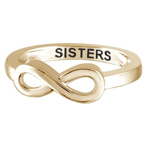 Womens Sterling Silver Elegantly Engraved Infinity Ring With Sisters