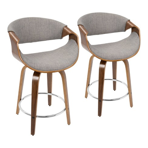 Set of 2 Curvini Mid-Century Modern Barstool - LumiSource - image 1 of 4
