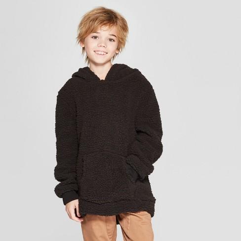 Boys' Long Sleeve Cowl Neck Sherpa Sweatshirt - art class™ Black XL - image 1 of 3