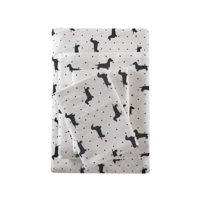 Flannel Print Sheet Set (Queen)Dogs Black & White