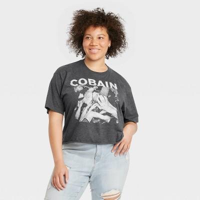 Women's Kurt Cobain Short Sleeve Oversized Graphic T-Shirt - Charcoal Gray
