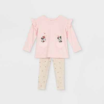 Toddler Girls' Minnie and Mickey Mouse Valentine's Day Long Sleeve Top and Bottom Set - Pink