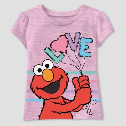 Toddler Girls' Sesame Street Short Sleeve T-Shirt - Pink - image 1 of 2