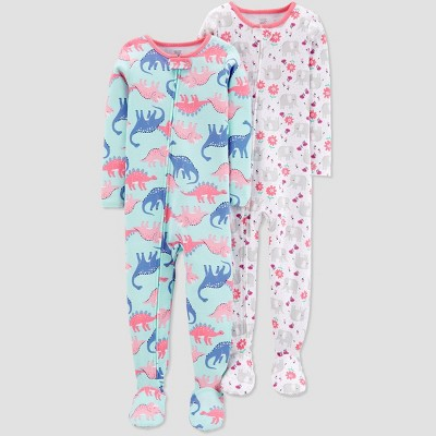 Baby Girls' Blue Dino Elephant Poly Footed Sleepers - Just One You® made by carter's Blue 9M
