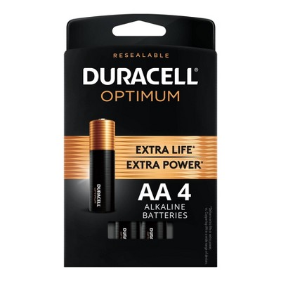 Duracell Optimum AA Batteries - 4 Pack Alkaline Battery with Resealable Tray