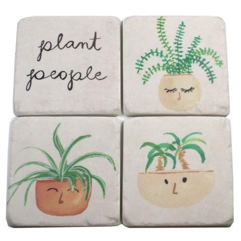 "Tabletop 3.75"" Planter People Coaster 4 Pc Set Plants Square Cork Back Neutral Ganz  -  Coasters - image 1 of 3"
