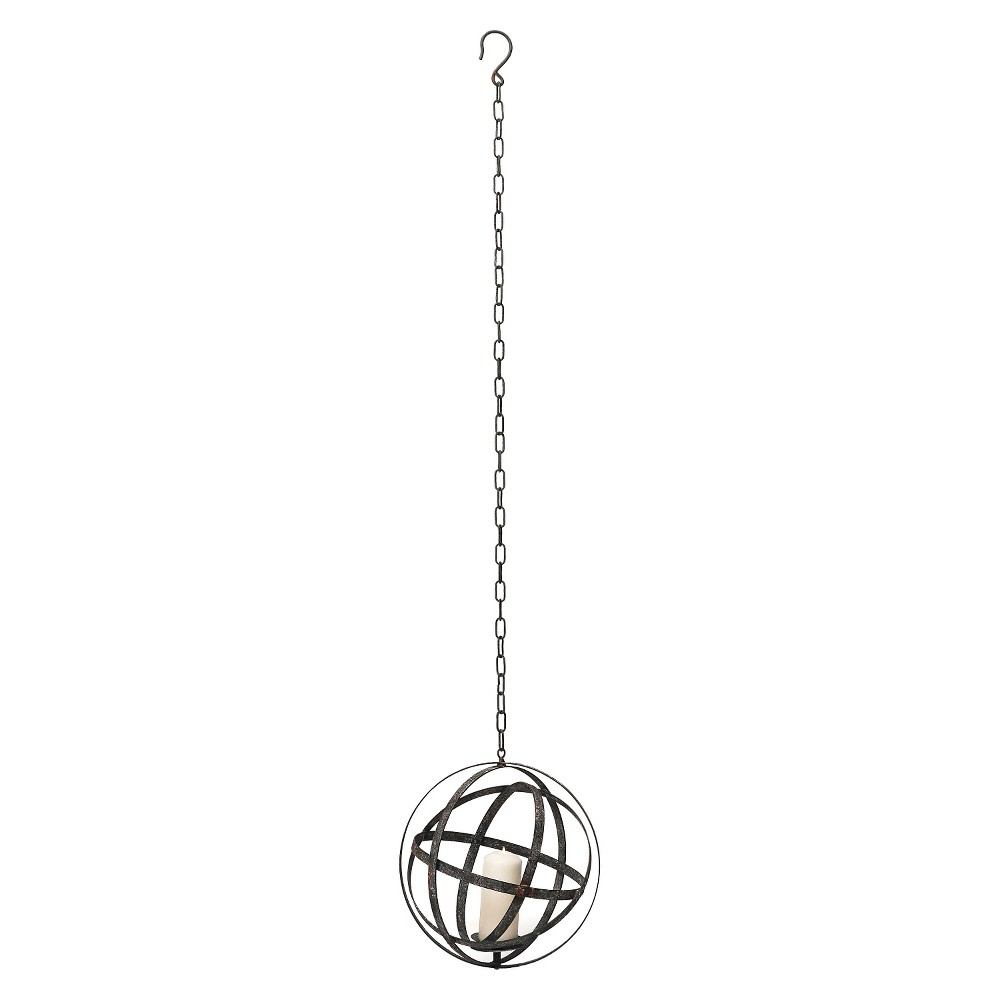 "Image of ""15.25"""" Small Iron Hanging Orb Votive Holder - Dark Gray - Foreside Home & Garden"""